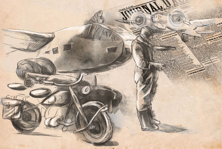 gloriole: Vintage picture from the series: World between 1905-1949. At the airport - a soldier on a motorcycle between aircraft. An hand drawn full sized illustration.