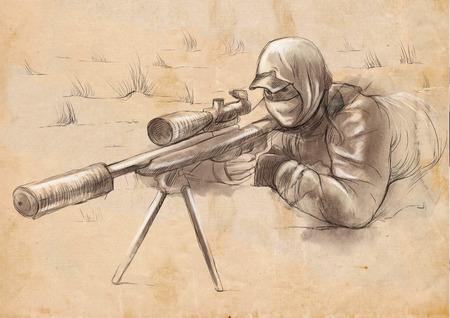 spunk: Una ilustraci�n dibujados a mano de tama�o completo - Shooter (Francotirador)