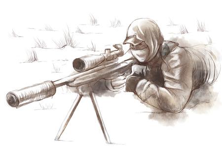gloriole: Una ilustraci�n dibujados a mano de tama�o completo - Shooter (Francotirador)