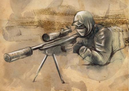 shooter: An hand drawn full sized illustration - Shooter (Sniper)