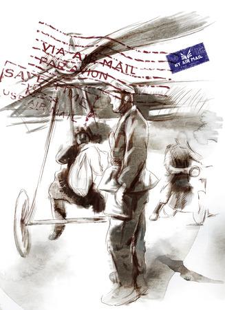 gloriole: Imagen del vintage de la serie: World entre 1905-1949. En el aeropuerto - Postal avi�n con un piloto y un soldado. Una ilustraci�n dibujados a mano de tama�o completo.