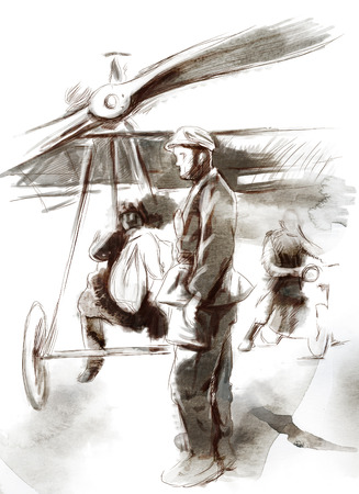 sized: Vintage picture from the series: World between 1905-1949. At the airport - Postal plane with a pilot and soldier. An hand drawn full sized illustration.