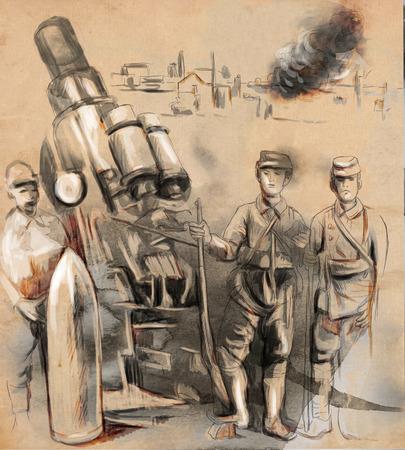 gloriole: Imagen del vintage de la serie: World entre 1905-1949. Los soldados posando delante de una gran ob�s (mortero). Una mano dibujada y coloreada ilustraci�n de tama�o completo.