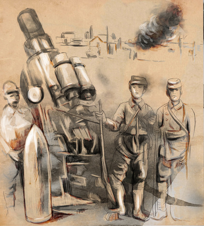 howitzer: Vintage picture from the series: World between 1905-1949. Soldiers posing in front of a large Howitzer (Mortar). An hand drawn and colored full sized illustration.