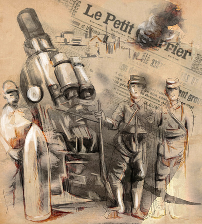 spunk: Vintage picture from the series: World between 1905-1949. Soldiers posing in front of a large Howitzer (Mortar). An hand drawn and colored full sized illustration.