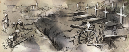 trenches: Vintage picture from the series: World between 1905-1949. The fighting in the trenches. An hand drawn and colored full sized illustration. Stock Photo