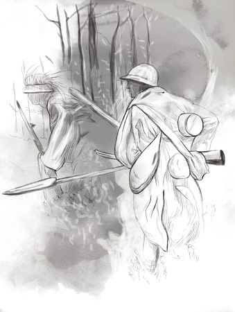 gloriole: Vintage picture from the series: World between 1905-1949. Soldier with a rifle in the woods. An hand drawn and colored full sized illustration.