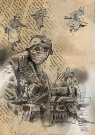 gloriole: Imagen del vintage de la serie: World entre 1905-1949. Soldado en la m�scara (en el tanque de fondo y algunos soldados). Una mano dibujada y coloreada ilustraci�n de tama�o completo.