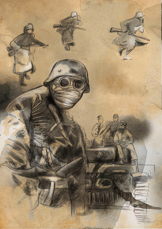 spunk: Vintage picture from the series: World between 1905-1949. Soldier in mask (in the background tank and some soldiers). An hand drawn and colored full sized illustration.