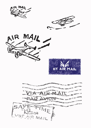 air mail: Several stamps of old air mail (Orignal - no scans - hand drawn). Hand drawn vector illustrations. Illustration
