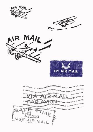 Several stamps of old air mail (Orignal - no scans - hand drawn). Hand drawn vector illustrations. Ilustração