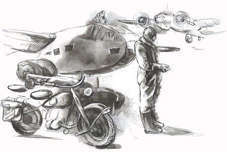 stardom: Vintage picture from the series: World between 1905-1949. At the airport - a soldier on a motorcycle between aircraft. An hand drawn vector illustration (converted). Illustration