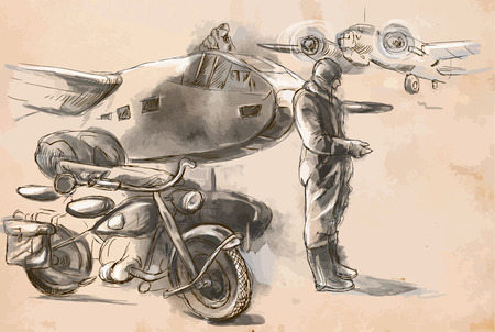 spunk: Vintage picture from the series: World between 1905-1949. At the airport - a soldier on a motorcycle between aircraft. An hand drawn vector illustration (converted). Illustration