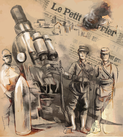 Vintage picture from the series: World between 1905-1949. Soldiers posing in front of a large Howitzer (Mortar). An hand drawn vector illustration (converted). Vectores