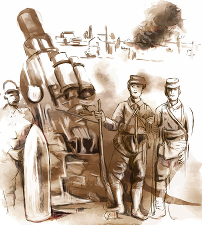 howitzer: Vintage picture from the series: World between 1905-1949. Soldiers posing in front of a large Howitzer (Mortar). An hand drawn vector illustration (converted). Illustration