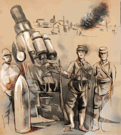 spunk: Vintage picture from the series: World between 1905-1949. Soldiers posing in front of a large Howitzer (Mortar). An hand drawn vector illustration (converted). Illustration