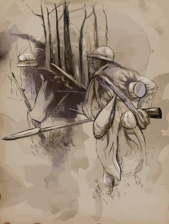 converted: Vintage picture from the series: World between 1905-1949. Soldier with a rifle in the woods. An hand drawn vector (converted).