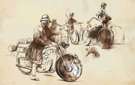 converted: Vintage picture from the series: World between 1905-1949. Soldiers on bicycle and a soldier on a motorcycle (military front in the country). An hand drawn vector illustration (converted).