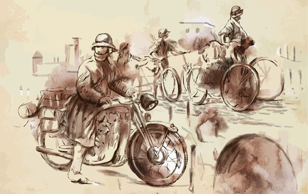 spunk: Vintage picture from the series: World between 1905-1949. Soldiers on bicycle and a soldier on a motorcycle (military front in the country). An hand drawn vector illustration (converted).
