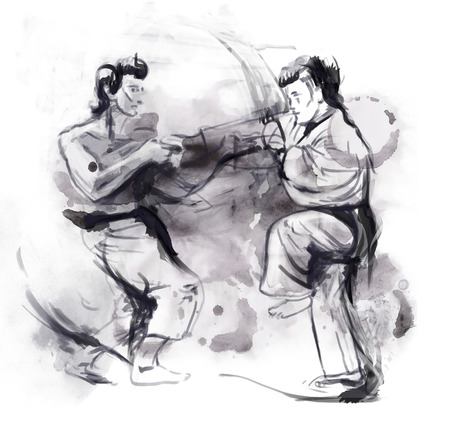 hardness: An hand drawn illustration in calligraphic style from series Martial Arts  KARATE  Karate is a martial art developed in the Ryukyu Islands  Okinawa , Japan