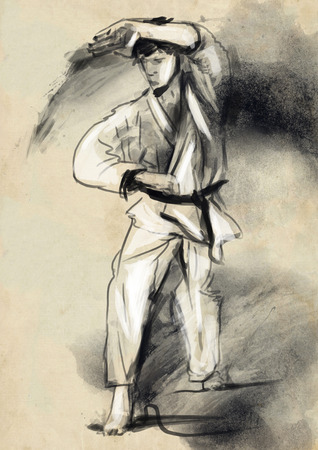 fine arts: An hand drawn illustration in calligraphic style from series Martial Arts  KARATE  Karate is a martial art developed in the Ryukyu Islands  Okinawa , Japan