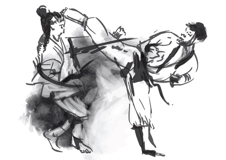 fine arts: An hand drawn converted in calligraphic style from series Martial Arts  KARATE