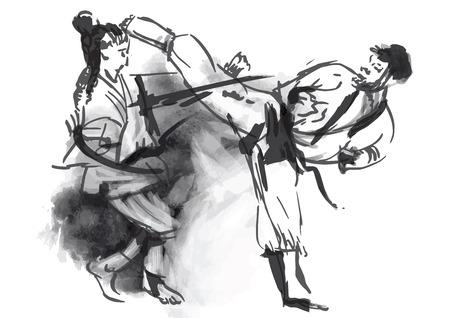 artes marciales: Una mano dibujada convierte en estilo caligráfico de la serie Martial Arts KARATE Vectores