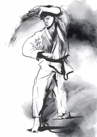 An hand drawn converted in calligraphic style from series Martial Arts  KARATE
