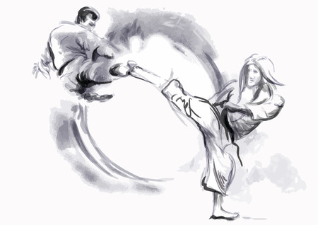 hardness: An hand drawn converted in calligraphic style from series Martial Arts  KARATE