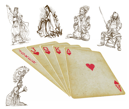 knave: playing cards - straight - search the history - vector Illustration