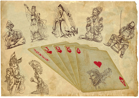 origin: playing cards - straight - search the history and origin Stock Photo
