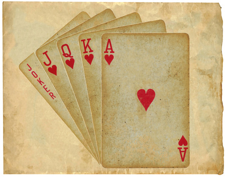 playing cards - straight - vintage, on old paper photo