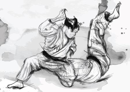 An hand drawn illustration from series Martial Arts: JUDO. Illustration