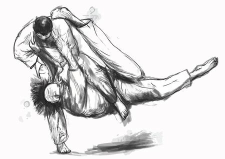 fine arts: An hand drawn illustration from series Martial Arts: JUDO. Illustration