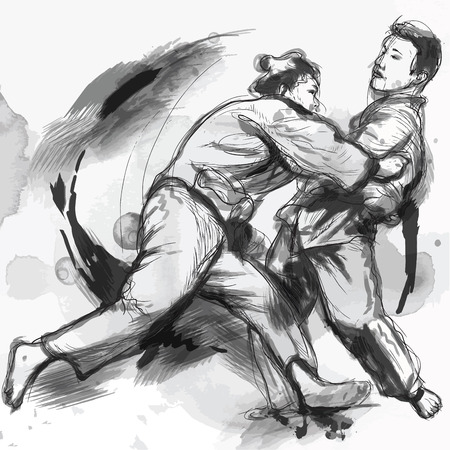 hardness: An hand drawn illustration from series Martial Arts: JUDO. Illustration