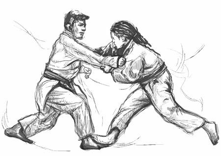 self defense: Una ilustraci�n dibujados a mano (convertido en vector) de la serie de artes marciales: JUDO. Vectores