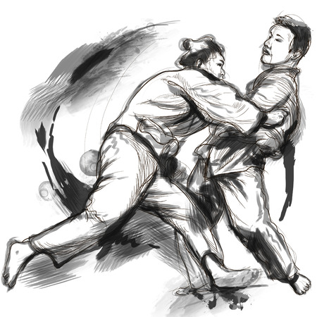 sized: An full sized hand drawn illustration (original) from series Martial Arts: JUDO. Stock Photo