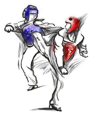 시리즈 격투기에서 전체 크기의 손으로 그린 그림 (흰색에 원본 도면) : TAE-KWON DO는 (. 한국 무술은 스포츠와 운동으로 전투와 자기 방어 기술을 결 스톡 콘텐츠