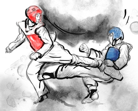 stunt: An full sized hand drawn illustration (original drawing on white) from series Martial Arts: TAE-KWON DO (is a Korean martial art. It combines combat and self-defense techniques with sport and exercise).