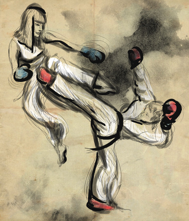 hardness: An full sized hand drawn illustration (original drawing on old paper) from series Martial Arts: TAE-KWON DO (is a Korean martial art. It combines combat and self-defense techniques with sport and exercise).