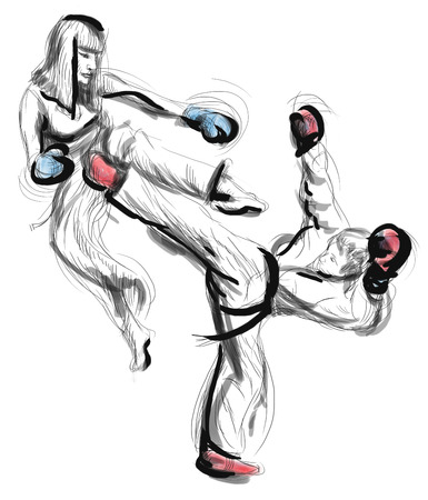 kwon: An full sized hand drawn illustration (original drawing on white) from series Martial Arts: TAE-KWON DO (is a Korean martial art. It combines combat and self-defense techniques with sport and exercise).