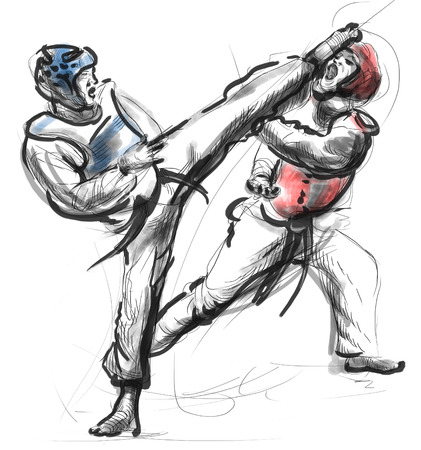 it is full: An full sized hand drawn illustration (original drawing on white) from series Martial Arts: TAE-KWON DO (is a Korean martial art. It combines combat and self-defense techniques with sport and exercise).