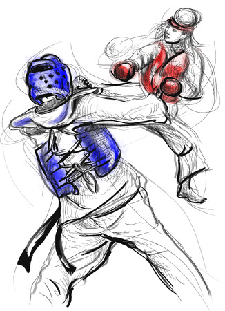 sized: An full sized hand drawn illustration (original drawing on white) from series Martial Arts: TAE-KWON DO (is a Korean martial art. It combines combat and self-defense techniques with sport and exercise).