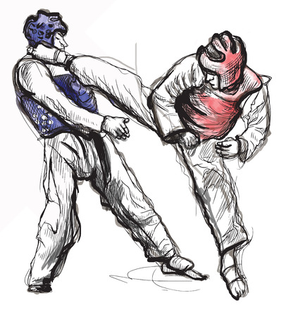 stunt: An hand drawn converted vector (in calligraphic) style from series Martial Arts: TAEKWON-DO (is a Korean martial art. It combines combat and self-defense techniques with sport and exercise).