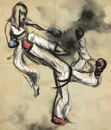 stunt: An hand drawn converted vector (in calligraphic and grunge) style from series Martial Arts: TAEKWON-DO (is a Korean martial art. It combines combat and self-defense techniques with sport and exercise).