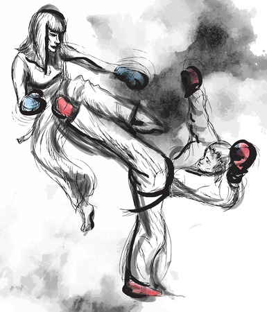 martial art: An hand drawn converted vector (in calligraphic and grunge) style from series Martial Arts: TAEKWON-DO (is a Korean martial art. It combines combat and self-defense techniques with sport and exercise).