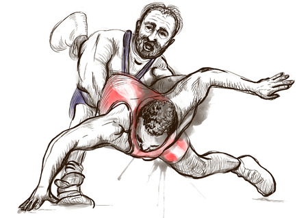 An hand drawn, full sized, illustration (original) from series Martial Arts: GRECO-ROMAN WRESTLING (is a style of wrestling that is practiced worldwide). Stock Photo