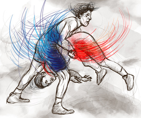 greco: An hand drawn, full sized, illustration (original) from series Martial Arts: GRECO-ROMAN WRESTLING (is a style of wrestling that is practiced worldwide). Stock Photo