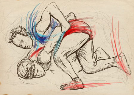 stunt: An hand drawn, full sized, illustration (original) from series Martial Arts: GRECO-ROMAN WRESTLING (is a style of wrestling that is practiced worldwide). Stock Photo