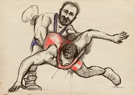 practiced: An hand drawn, full sized, illustration (original) from series Martial Arts: GRECO-ROMAN WRESTLING (is a style of wrestling that is practiced worldwide). Stock Photo